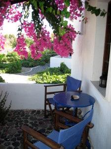 Santorini - il patio dell'appartamento