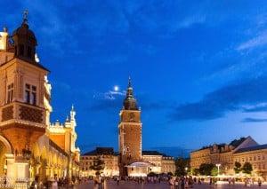 La piazza centrale di Cracovia