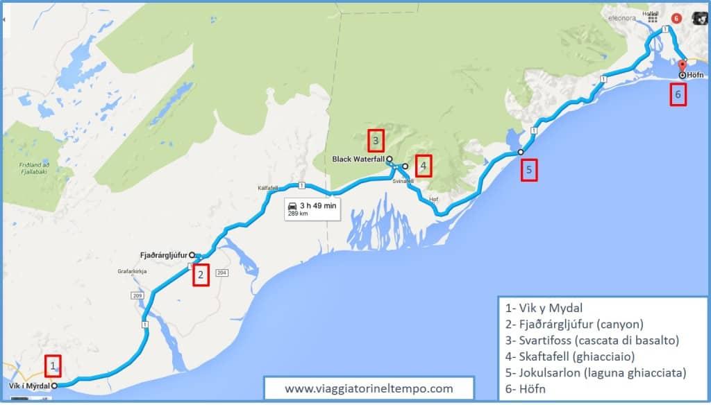 L'Islanda sud-orientale - il nostro itinerario