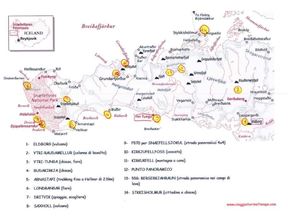 penisola Snæfellsnes mappa cosa vedere itinerario