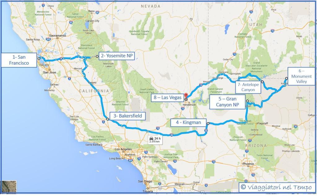 Viaggio nei parchi dell'Ovest degli Stati Uniti - il nostro itinerario