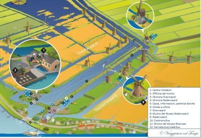Mulini Kinderdijk mappa map