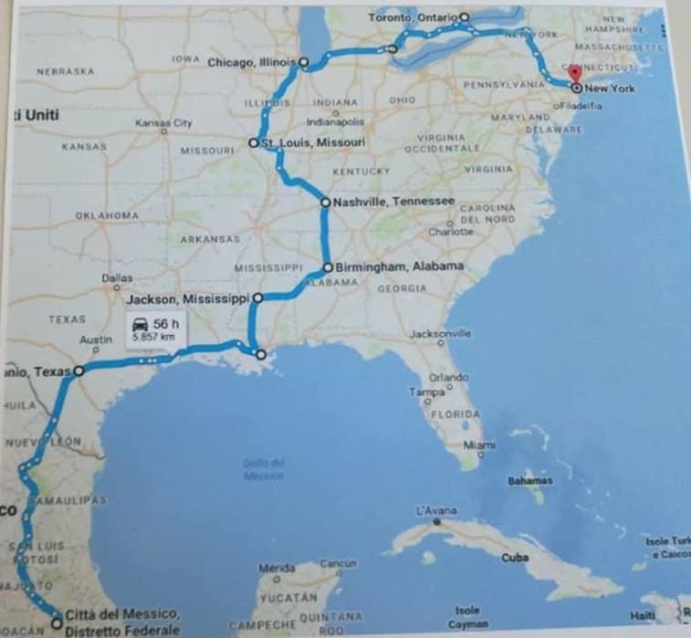 l'itinerario- da Città del Messico alle Cascate del Niagara