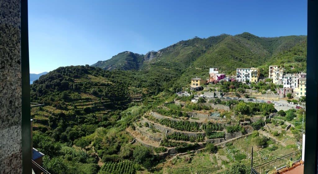 The Cinque Terre - View from the hotel room in Corniglia