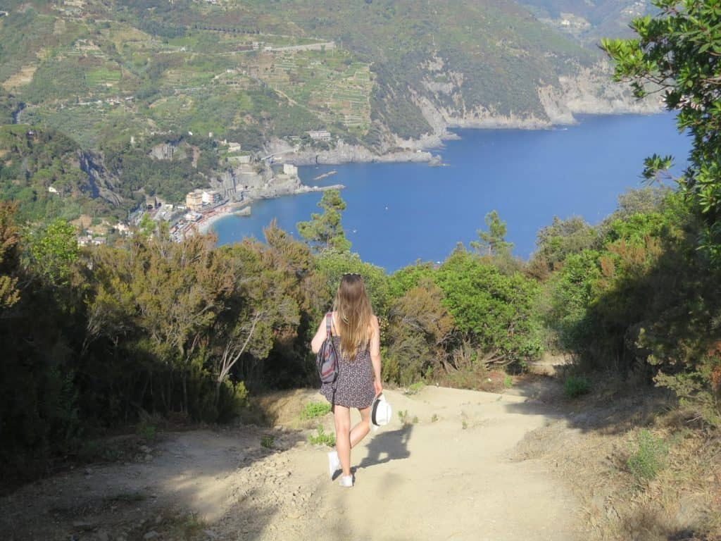 The Cinque Terre - Tanya on the hiking trail to Punta Mesco