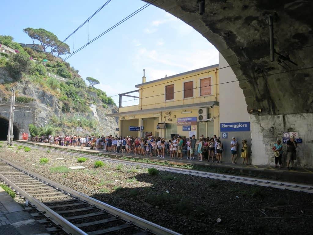 The Cinque Terre - crowded train station in Riomaggiore
